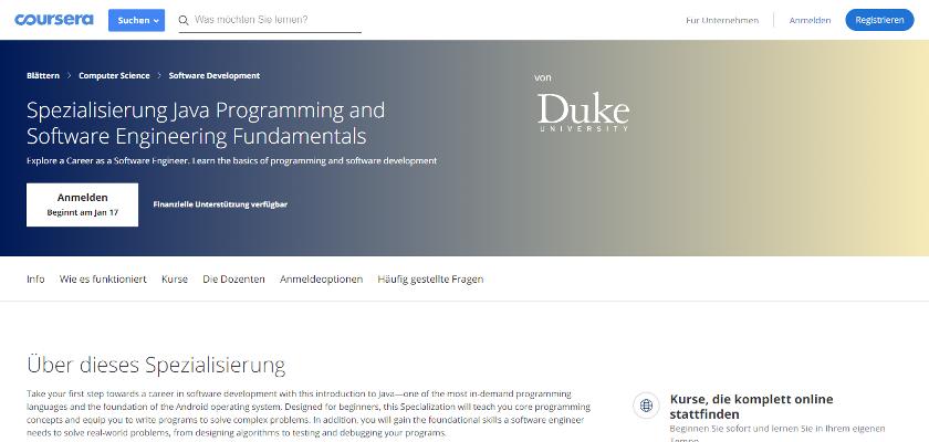 Abbildung: Coursera bietet Java Kurse mit Tutorials für Anfänger, Fortgeschrittene und Profis an.