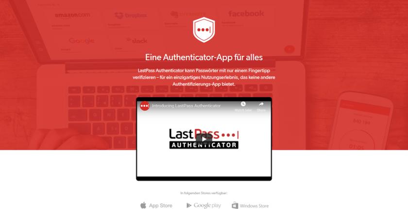 Abbildung - LastPass Authenticator kann Passwörter zum Anmelden auf Websites mit nur einem Fingertip verifizieren