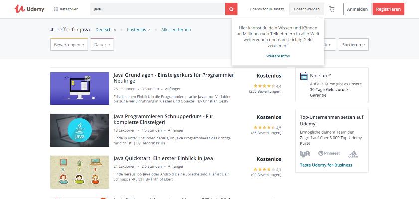 Abbildung: Udemy bietet kostenlose und kostenpflichtige Java Tutorials und Kurse an