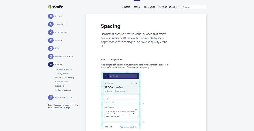 Abbildung: Der Styleguide Polaris von Shopify beschäftigt sich unter anderem detailliert mit dem Thema Spacing.