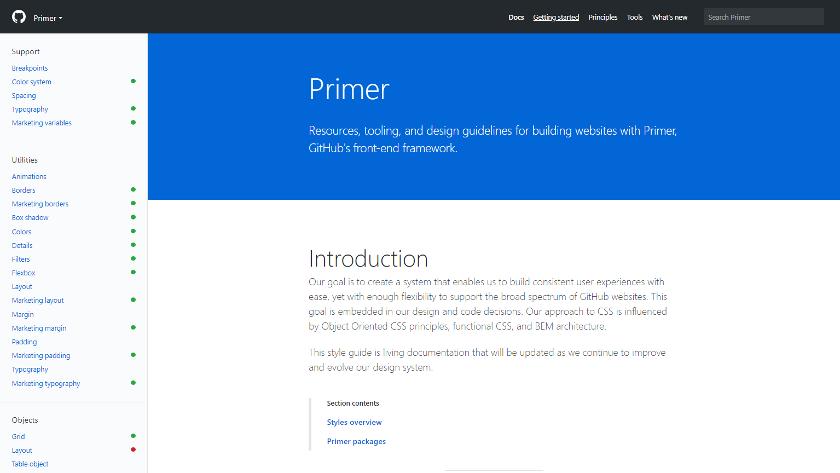 Abbildung: Primer ist das Design-System für die Website GitHub