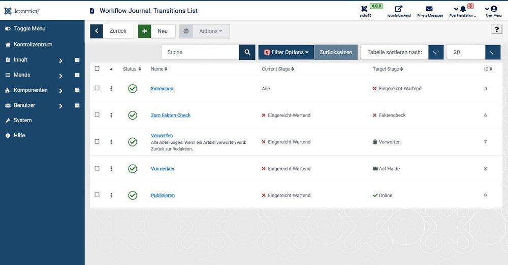 Abbildung_10_-_Joomla_Liste der Transitionen für einen Workflow