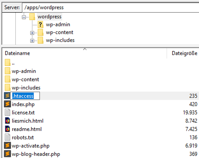 Abbildung: Ändern Sie den Dateinamen von htaccess.txt in .htaccess.