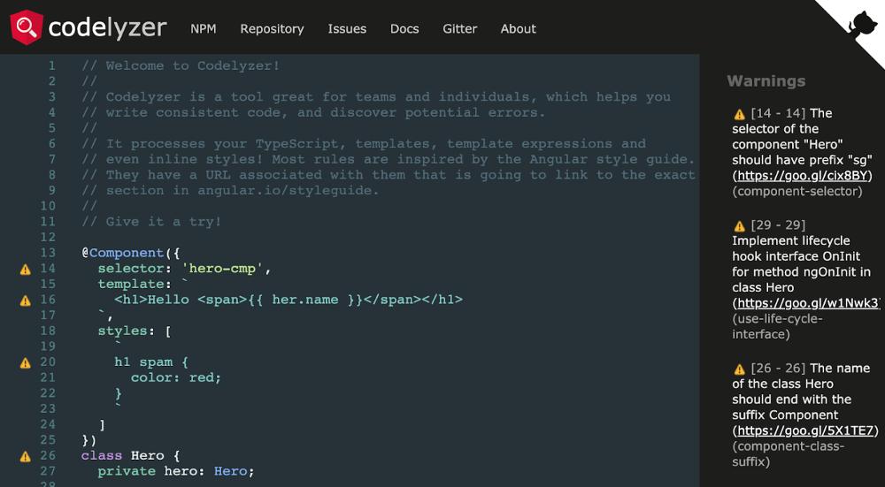 Abbildung - Die codelyzer Webseite (Quelle: http://codelyzer.com/)