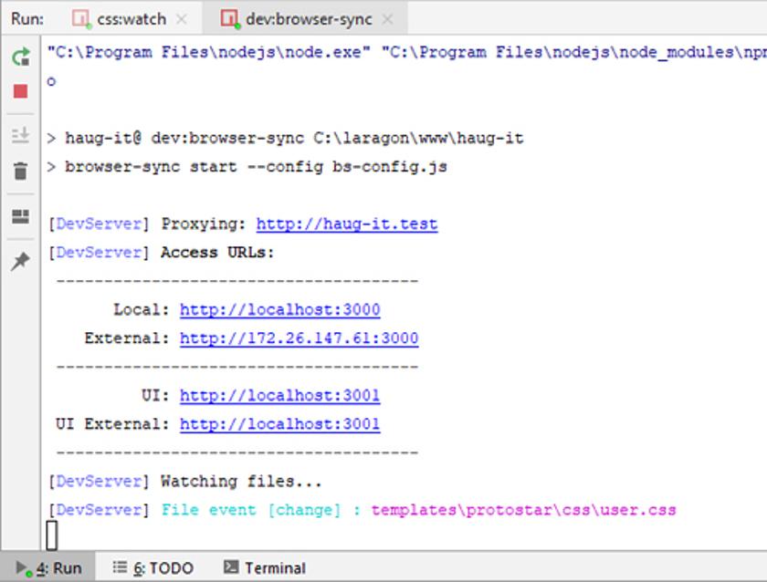 Abbildung 40 - NPM_BrowserSync Aenderung