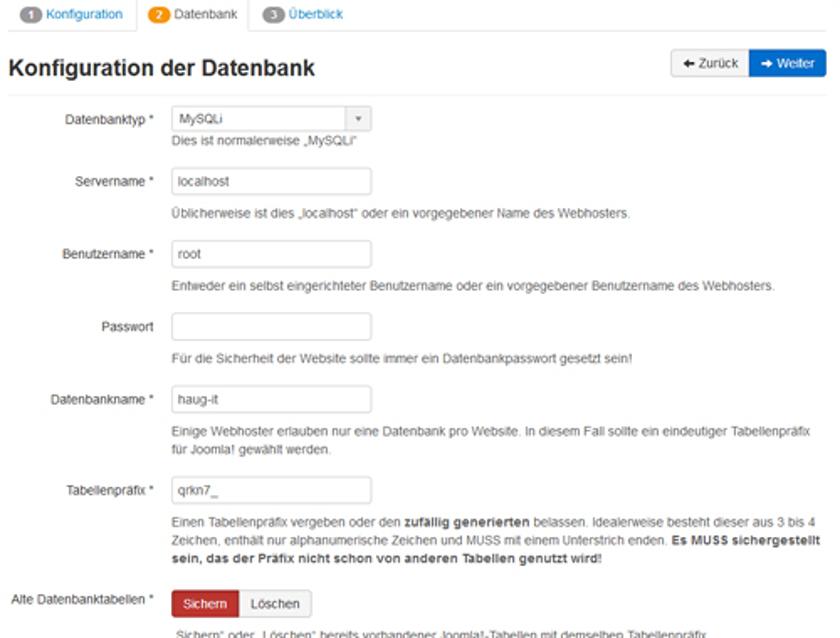 Abbildung 12 - Erstellung einer Webseite mit Joomla - Step 2 - Konfiguration der Datenbank