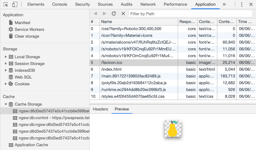 Abbildung 3 - Die Cache-Inhalte des Service Workers können in den Chrome Developer Tools im Bereich Application | Cache inspiziert werden