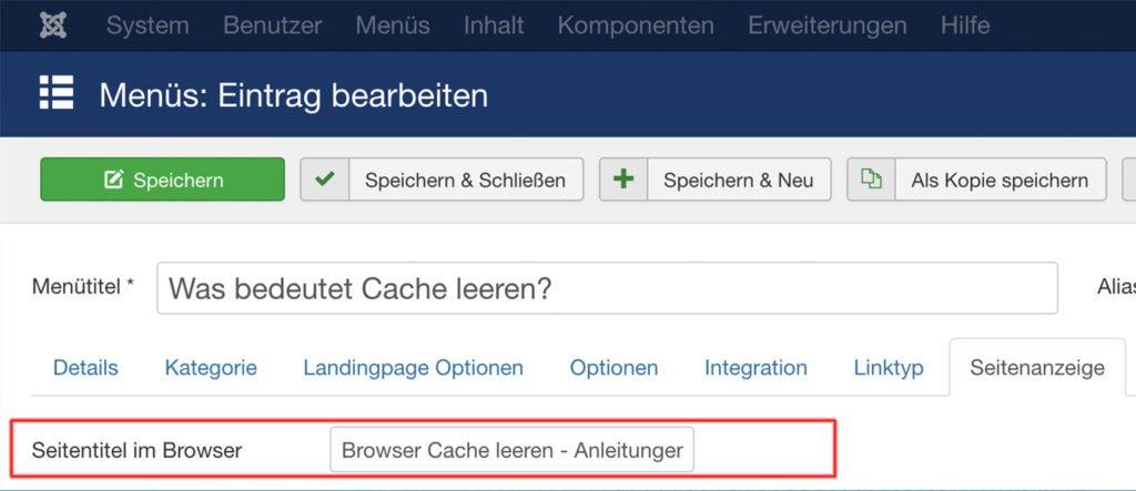 Abbildung - Browser-Titel Einstellungen-Menu