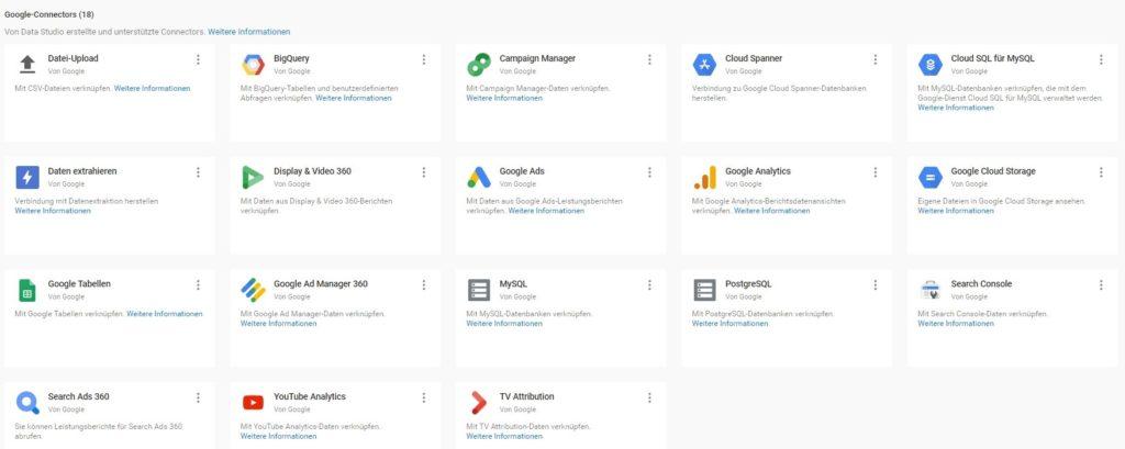 Abbildung 3 - Übersicht der Google Connectors zur Verbindung mit dem Google Data Studio.