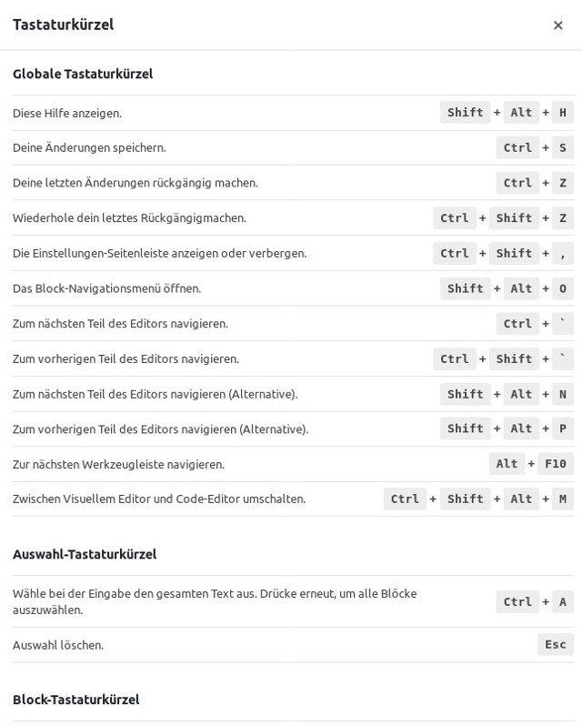 Abbildung 3: Die Keyboard Shortcuts für den Gutenberg Editor beschleunigen die Arbeit enorm