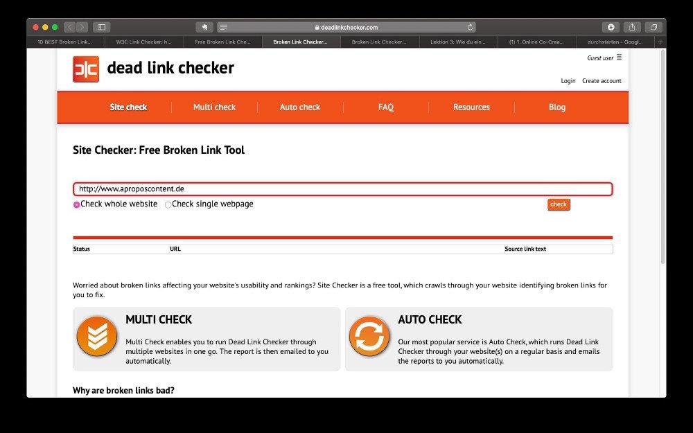 Abbildung - Dead Link Checker Tool