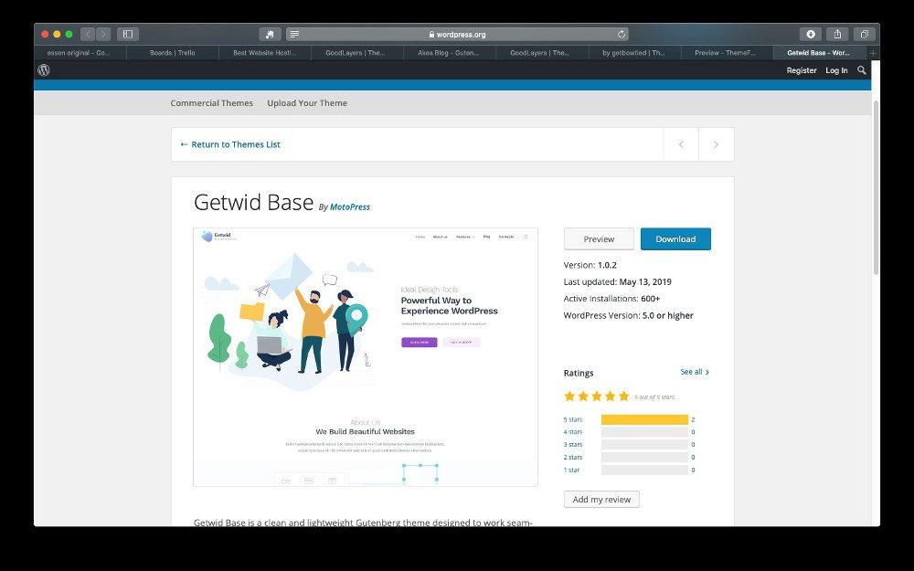 Abbildung - WordPress Theme Getwid Base