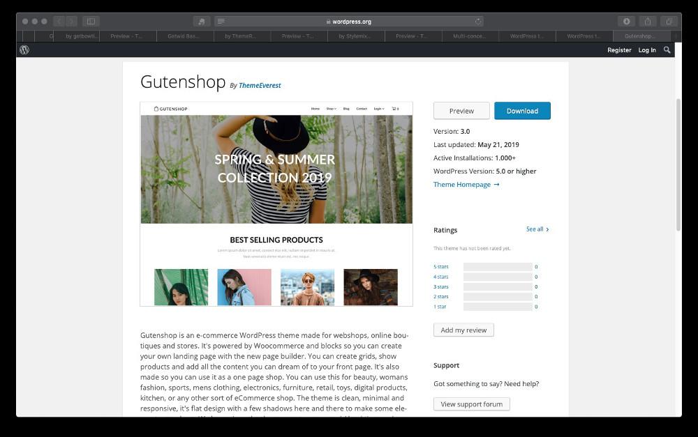Abbildung - Gutenberg WordPress Theme Gutenshop