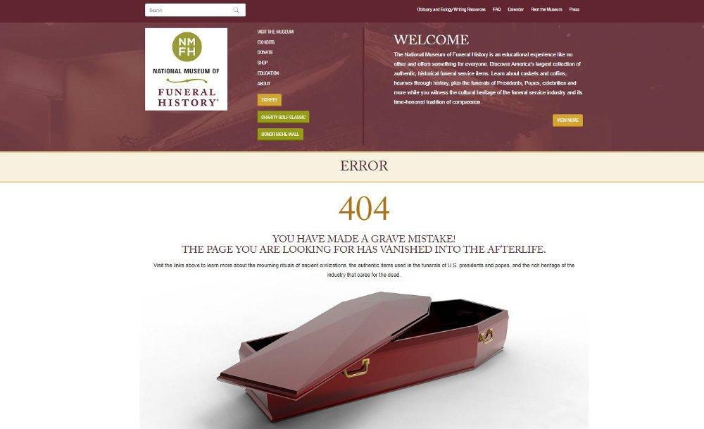 Abbildung_-_Die kreativsten 404-Fehlerseiten – Beispiel National Museum of Funeral History