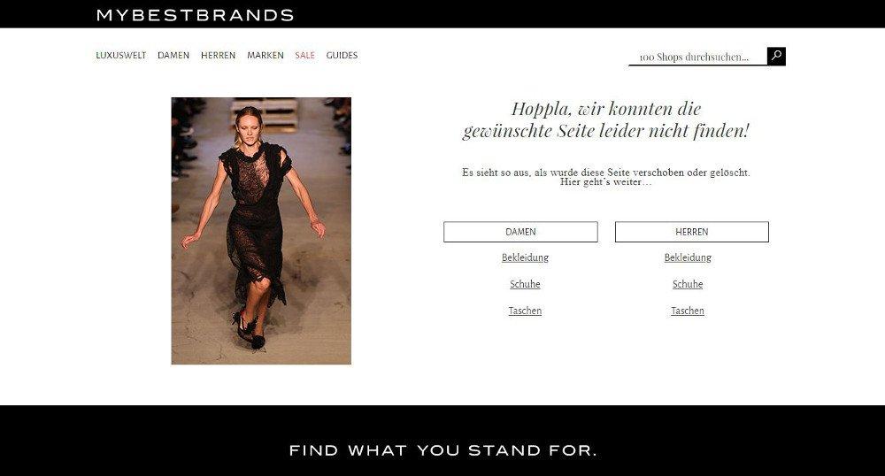Abbildung_-_Die kreativsten 404-Fehlerseiten - Beispiel die Modeseite Mybestbrands