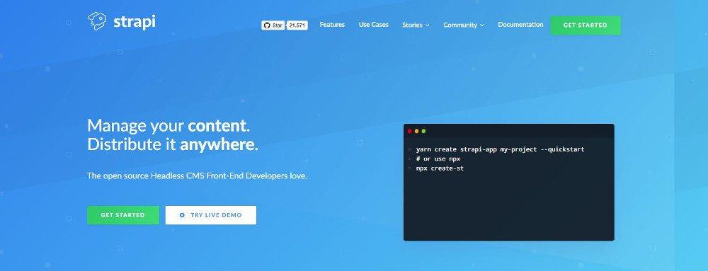 Abbildung - Strapi basiert auf Node.js und bietet eine Plugin-Architektur an. Quelle: Website-Screenshot