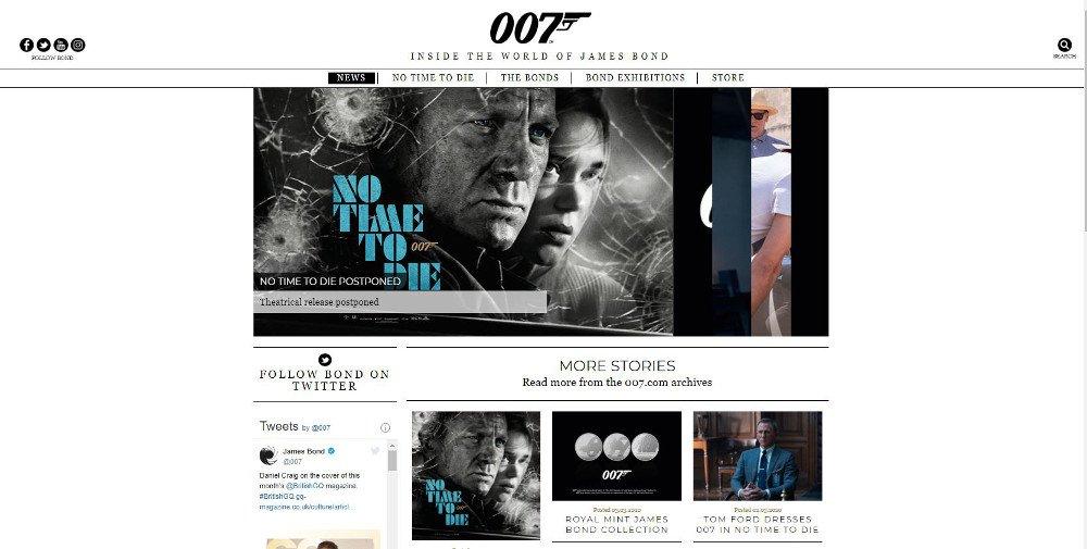 Abbildung Die Webseite von 007 nutzt WordPress