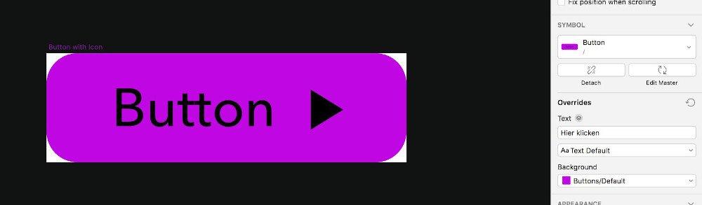 Abbildung - Overrides-Panel in Sketch für eine simple Button-Komponente