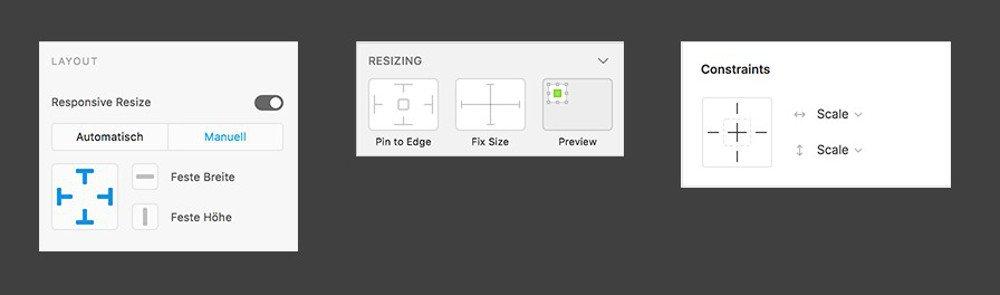 Abbildung - Resizing in Adobe XD, Sketch, und Figma (v.l.n.r.)