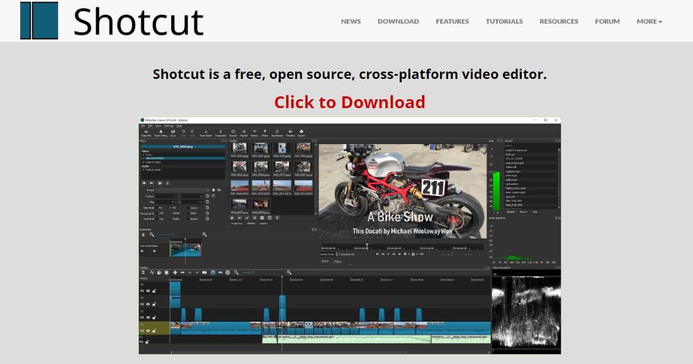 Abbildung - Übersicht Videobearbeitungsprogramme - Shotcut: Professionelle App mit zahlreichen Funktionen
