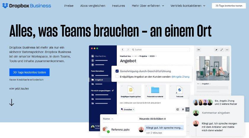Abbildung - Bei Dropbox Business kommen Teams, Tools und Inhalte zusammen