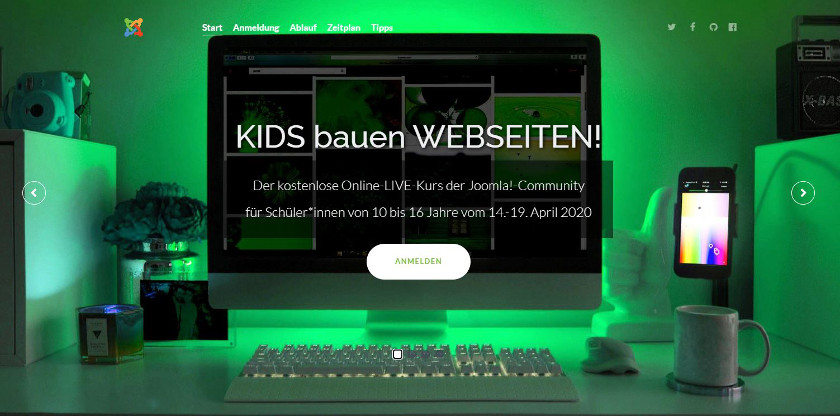 Abbildung - Webseite des Projekts Kids4Opensource