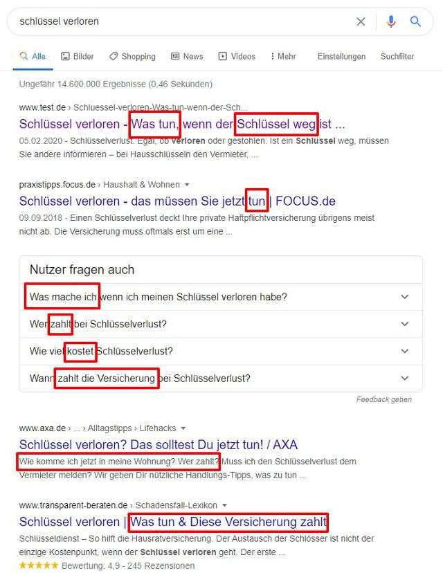 Abbildung - Suchergebnisse bei Google für die Keyword-Phrase schlüssel verloren