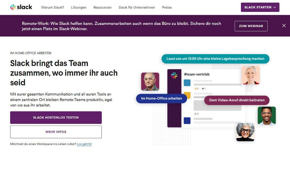 Abbildung: Slack zählt zu den beliebtesten Instant-Messengern
