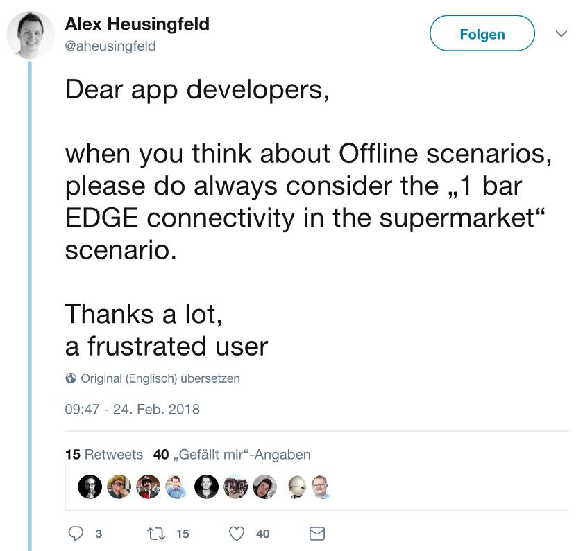 Abbildung Grundlagen einer herausragenden mobilen App -_Tweet - Offline Scenario Supermarket_