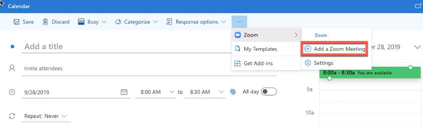 Abbildung - Über die drei Punkte in der Toolbar wird eine Zoom-Besprechung hinzugefügt