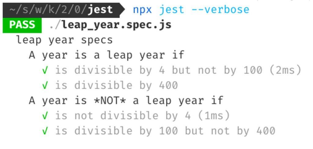 Abbildung JavaScript Testing - Das Starten von Jest mittels npx jest