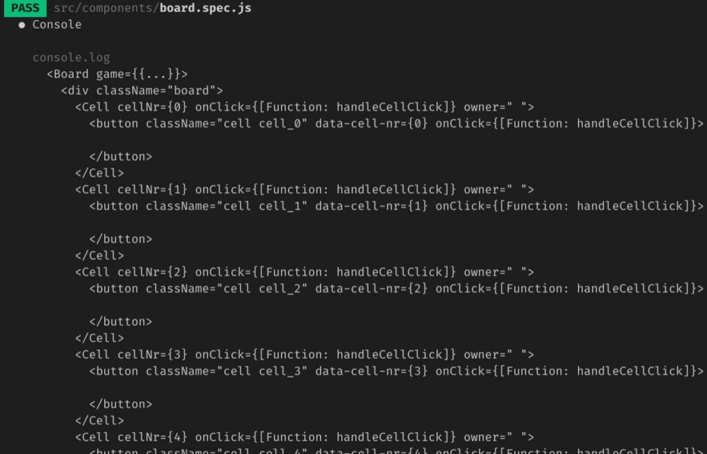 Abbildung JavaScript Testing - Deep Rendering der Board-Komponente
