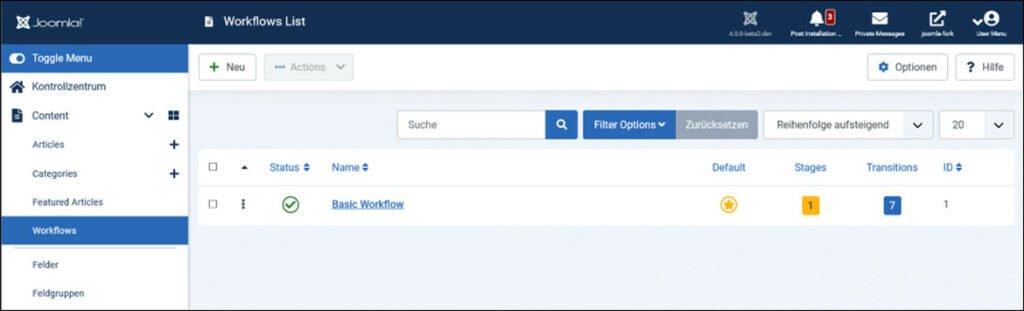 Abbildung - Ein erster Standard-Workflow ist bereits installiert