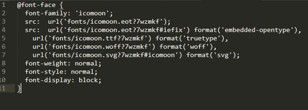 Abbildung 5: Den Codeblock @font-face in die eigene style.css-Datei kopieren