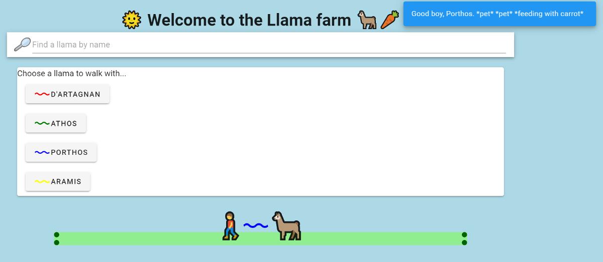 Abbildung Vue 3 Composition API - Beispielapplikation: Die Lamafarm