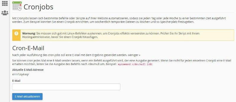 Abbildung - cPanel-Menü - Cronjobs - E-Mail-Notification