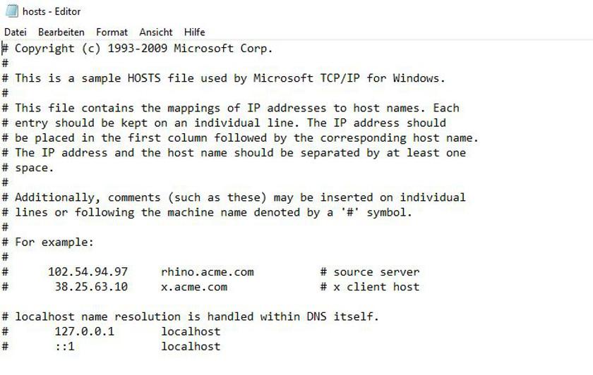 Abbildung: Inhalt der Datei hosts in Windows 10