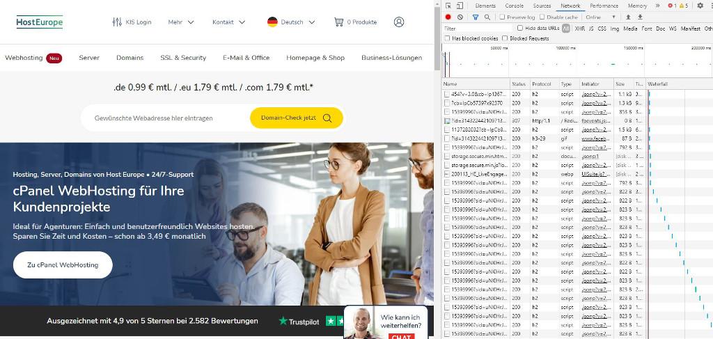 Abbildung - Protokoll - Ressourcen für die Webseite von Host Europe