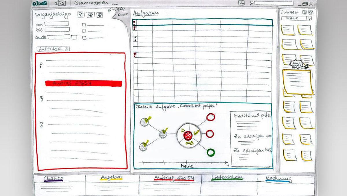 Abbildung - Skizze einer Software-Anwendung (Bildquelle: User Interface Design GmbH | www.uid.com)
