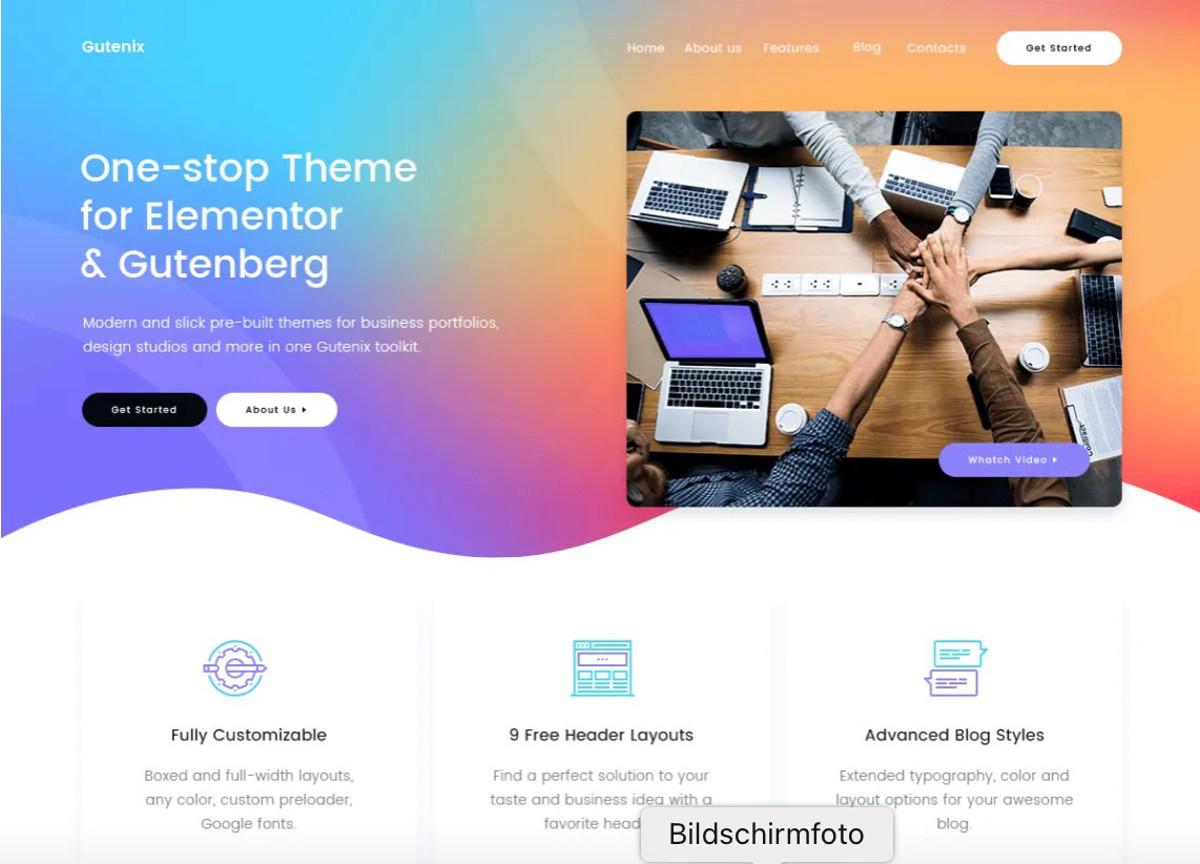 Die besten kostenlosen WordPress Themes für 2021 – Abbildung – Gutenix