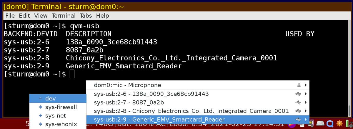 Abbildung Qubes OS - USB-Geräte werden explizit mit VMs verbunden