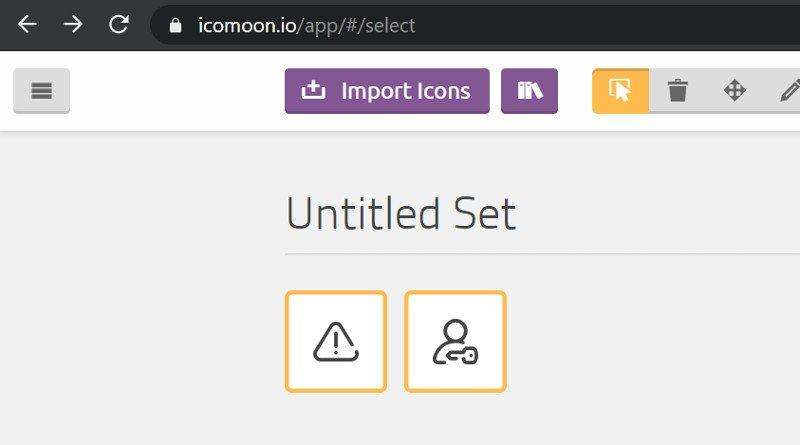 Abbildung SVG-Sheets - Import und Verwaltung der Icons im Online-Tool IcoMoon