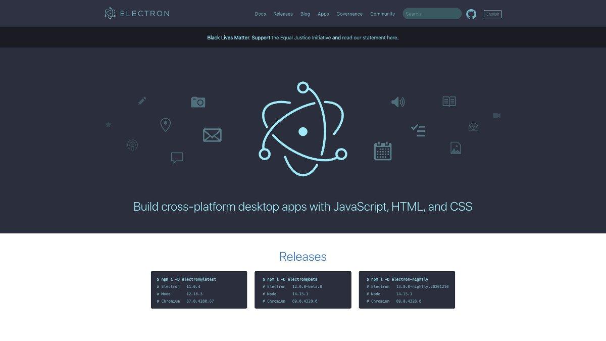 Abbildung - Webseite de JavaScript-Frameworks Electron