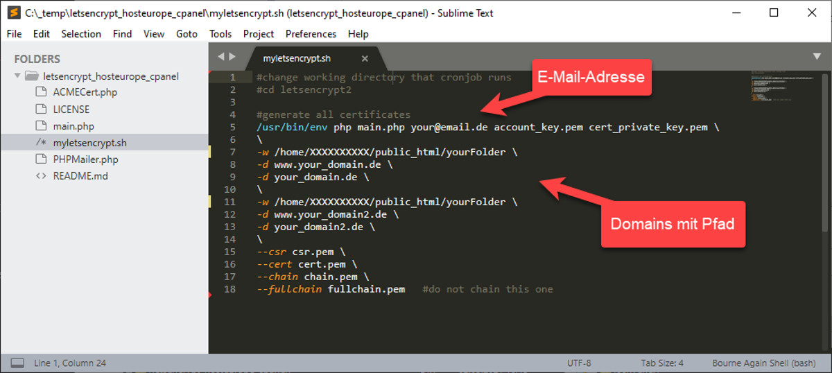 Abbildung1 – Let's Encrypt Zertifikate generieren – Anpassung des Skripts