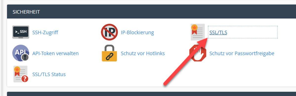 Abbildung7 – Let's Encrypt Zertifikate generieren – Menüpunkt SSL/TLS in cPanel