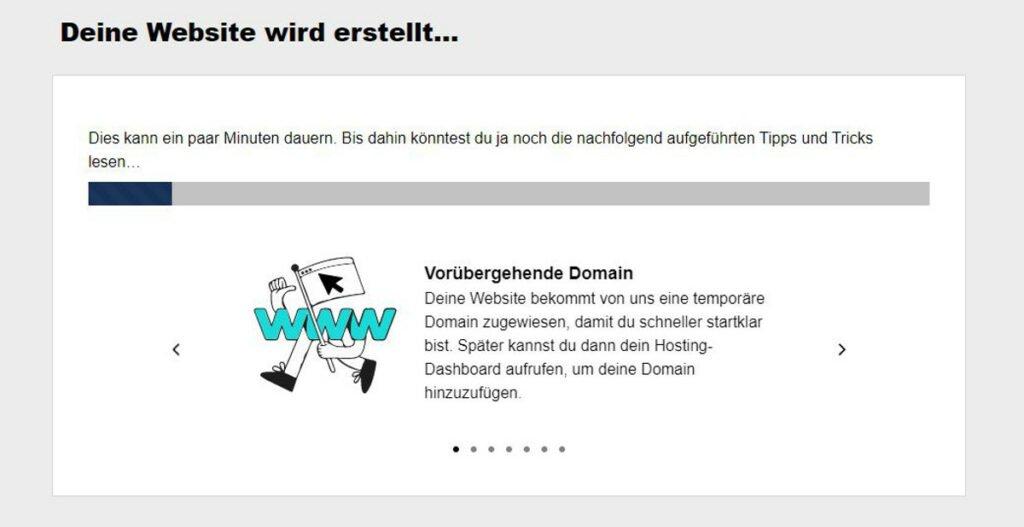 WordPress-Installation - Abbildung 4: Automatische Bereitstellung Ihrer Webseite