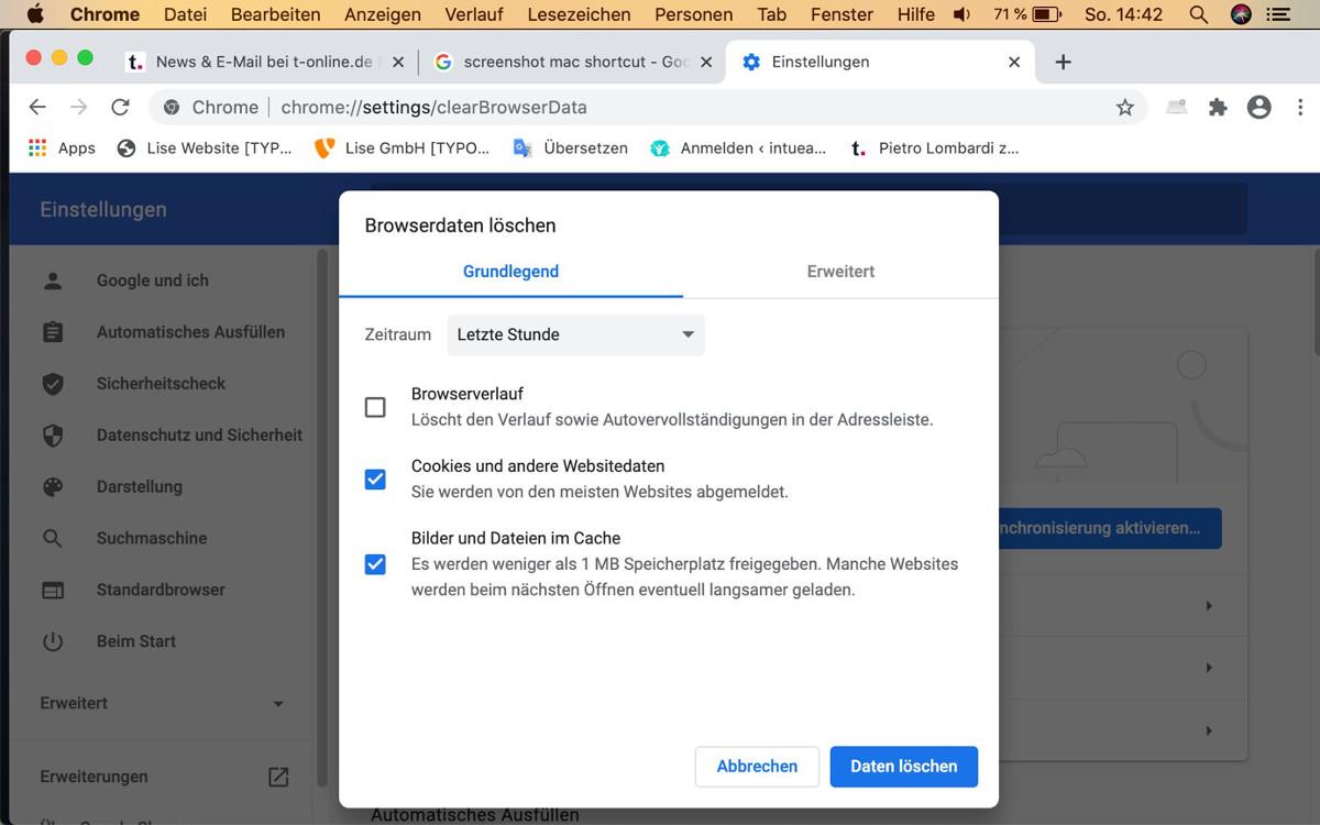 Cache löschen in Chrome – Abbildung 2: unterschiedliche Optionen
