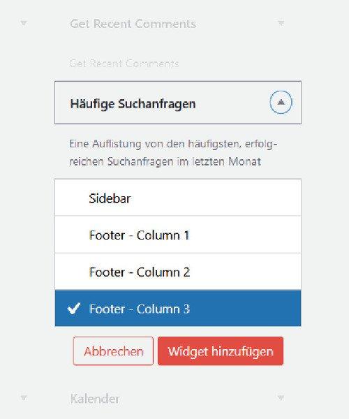 Abbildung - Wie man mit Hilfe des Plugins Search Meter häufige Suchbegriffe auch im Frontend auszugeben kann