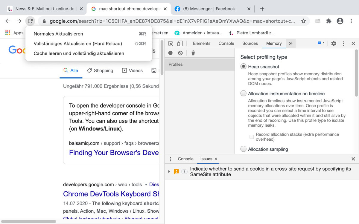 Cache löschen in Chrome – Abbildung 5: Hard Refresh in Chrome
