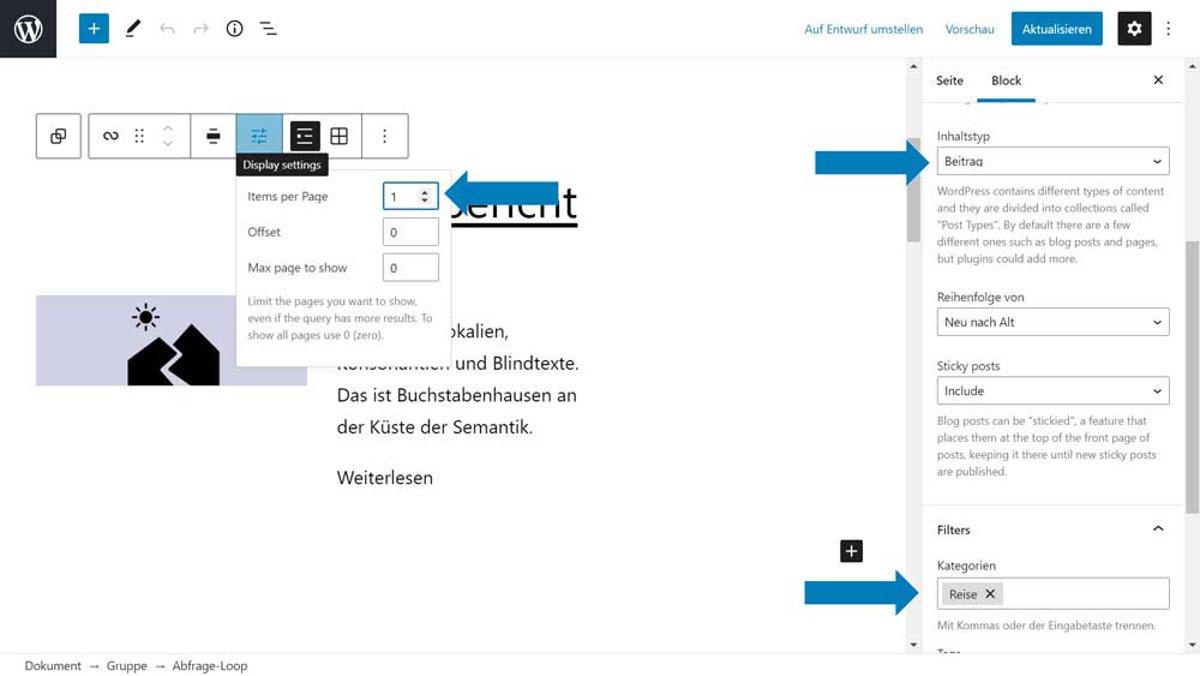 Abbildung - Der erste Gutenberg Abfrageblock fragt nur einen Beitrag der Kategorie Reise ab.
